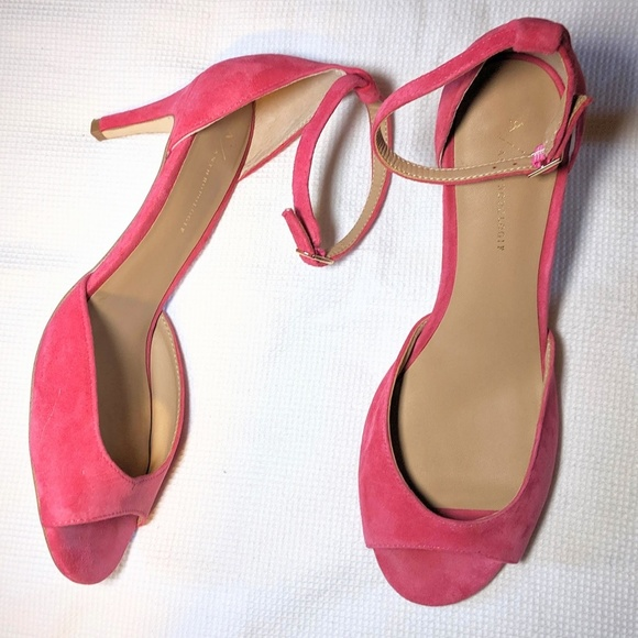 Anthropologie Shoes - Anthropologie Pink Ankle Strap Heels